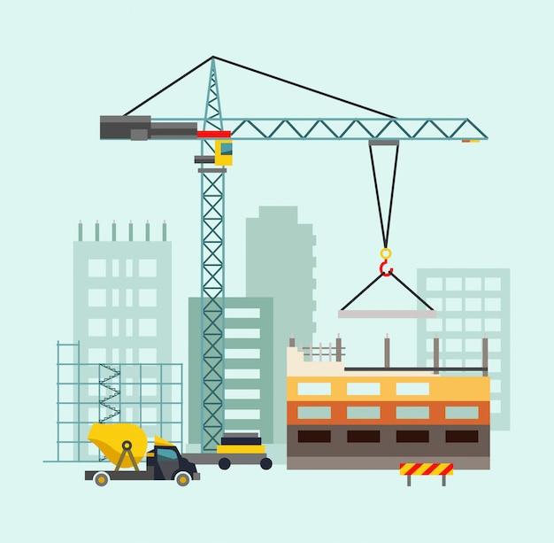 Строительный рабочий процесс с домами и строительными машинами Premium векторы