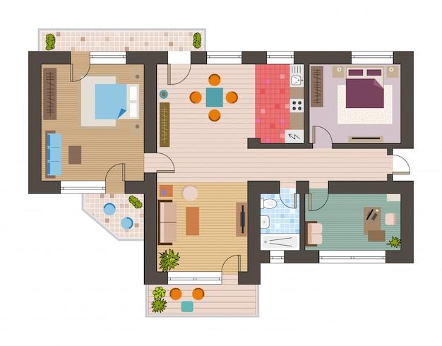 リビングルームと建築の平らな平面図 Premiumベクター
