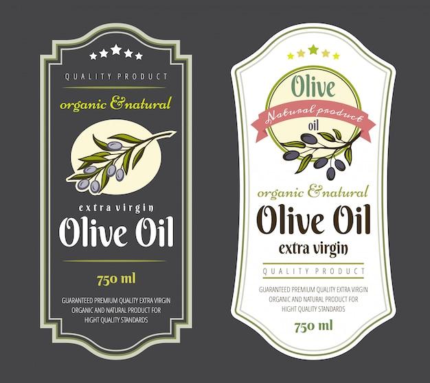 Набор наклеек для оливкового масла. Premium векторы