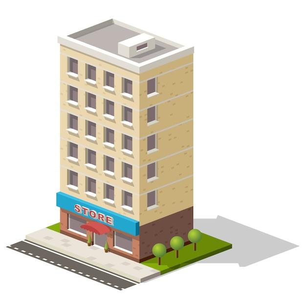 ベクトル等尺性アイコンストアまたはショッピングセンタービル Premiumベクター