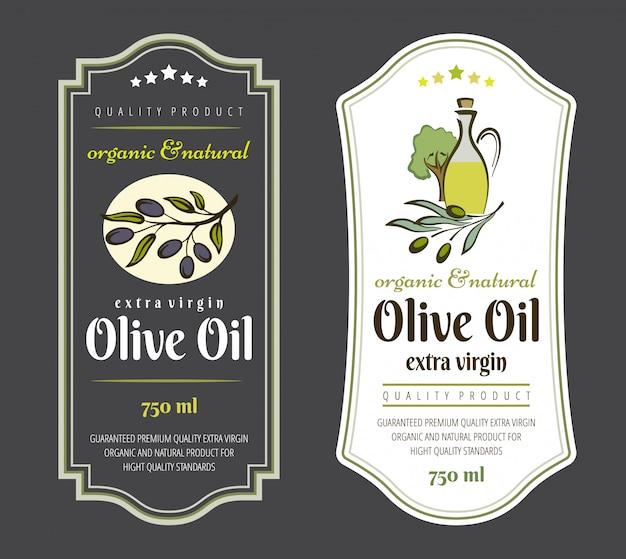 オリーブオイルのラベルのセット。オリーブオイル包装用のエレガントなデザイン。 Premiumベクター