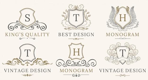 レトロロイヤルヴィンテージシールズロゴタイプセット。ベクトル書道高級ロゴデザイン要素。 Premiumベクター