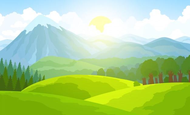 夏の山の風景。グリーンバレーのベクトル図 Premiumベクター