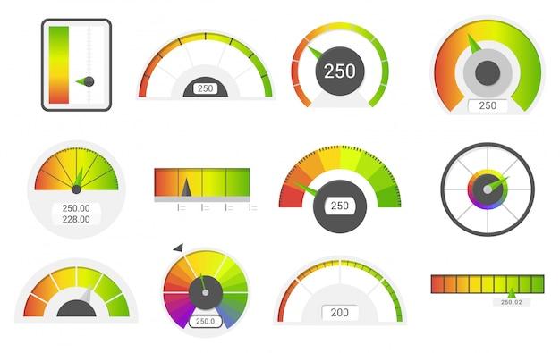 スピードメーターのアイコン。クレジットスコアの指標スピードメーター商品ゲージ評価メーター。レベル指標、クレジットローンスコアマノメーターベクトルを設定 Premiumベクター