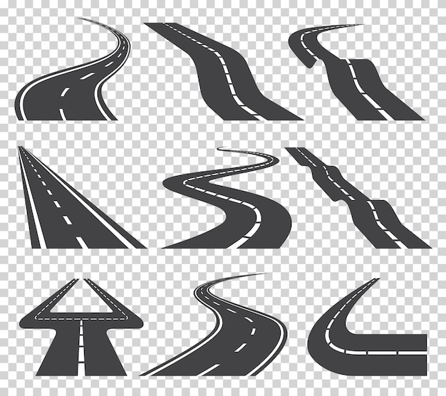 曲がりくねった道路や高速道路をマーキングします。方向、交通機関を設定します。透明のベクトル図 Premiumベクター