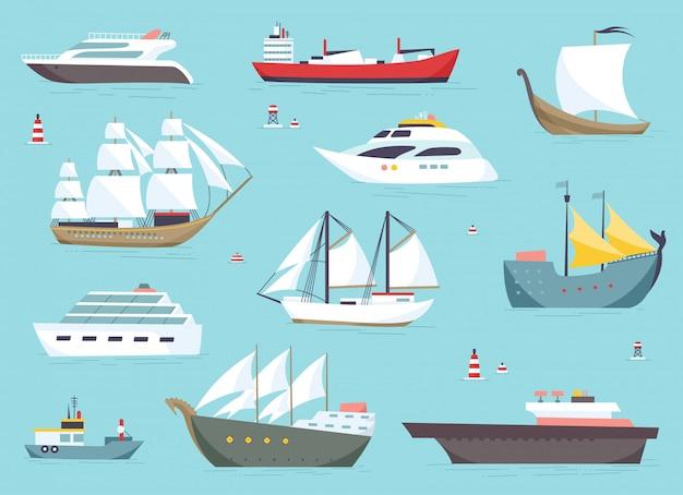 Корабли в море, отгрузка катеров, морские перевозки комплект. Premium векторы