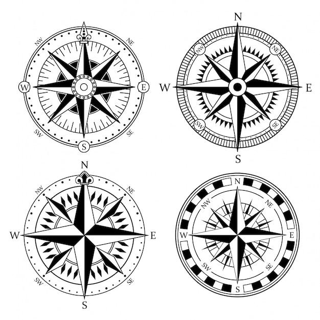 Старинные морские знаки компаса Premium векторы