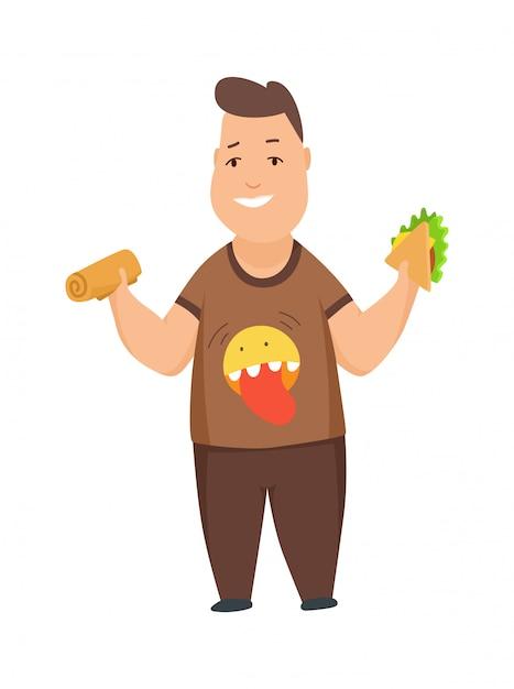 Избыточный вес мальчика милый пухлый ребенок героев мультфильмов едят фаст-фуд Premium векторы