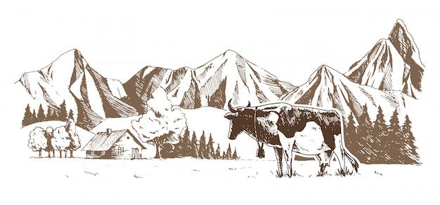 酪農場牛は牧草地で放牧 Premiumベクター