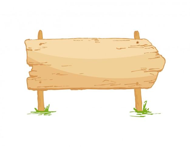 きのこと草の上の古い木製看板 Premiumベクター