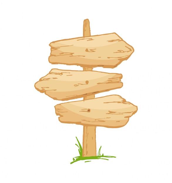 きのこと草の上の古い木製看板。 Premiumベクター