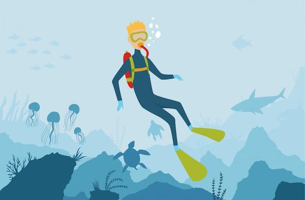 海の動植物とベクトル漫画スタイルの水中背景 Premiumベクター