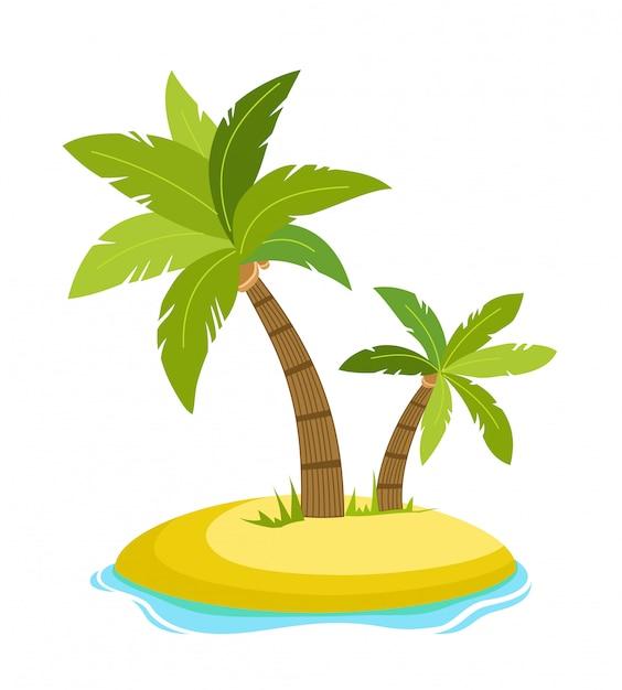 海の波のベクトル図が分離された島の熱帯のヤシ。ヤシの木の下のビーチ。熱帯地方での夏休み。漫画のベクトル図です。 Premiumベクター
