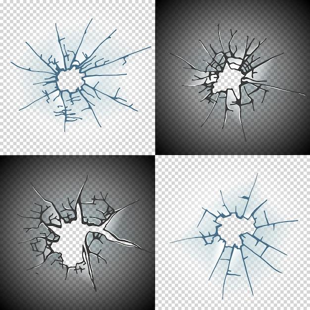 Разбитое оконное стекло или потрескавшаяся дверь, реалистичное прозрачное стекло Premium векторы