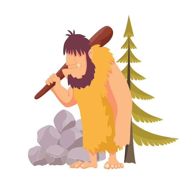 動物の石器時代の原始人は大きな木製クラブで毛皮を隠します。分離したフラットスタイルのベクトル図 Premiumベクター
