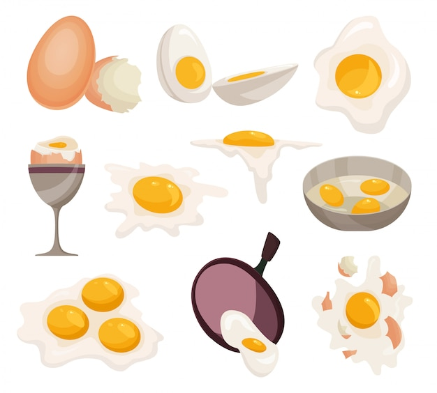 Яичный вектор здоровой пищи Premium векторы