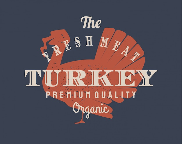 乳製品および肉ビジネス、肉屋、市場のビンテージトルコロゴ。 Premiumベクター