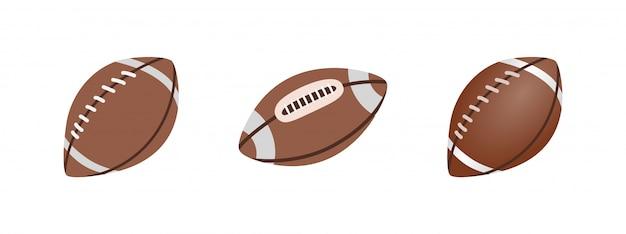 アメリカンフットボールボール、白い背景で隔離されました。リアルなイラスト。ラグビースポーツ。 Premiumベクター