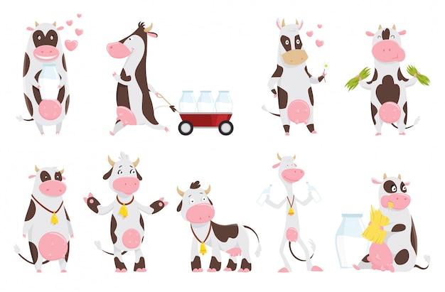 Милый счастливый мультфильм коллекции коровы с бутылкой молока. корова ест траву, смешные животные фермы мультипликационный персонаж. Premium векторы