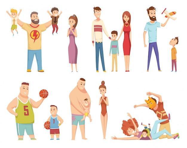 幸せな若い家族。お父さん、お母さんと息子が一緒に。父と彼の若い息子がおもちゃで遊んで。 Premiumベクター
