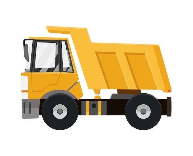 大きな黄色のダンプトラック Premiumベクター