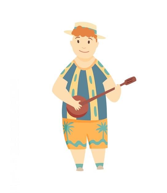 Позитивный человек играет на гавайской гитаре. счастливый гавайский мальчик играл на гитаре и петь. может быть использован для таких тем, как культура, отдых, фолк. Premium векторы