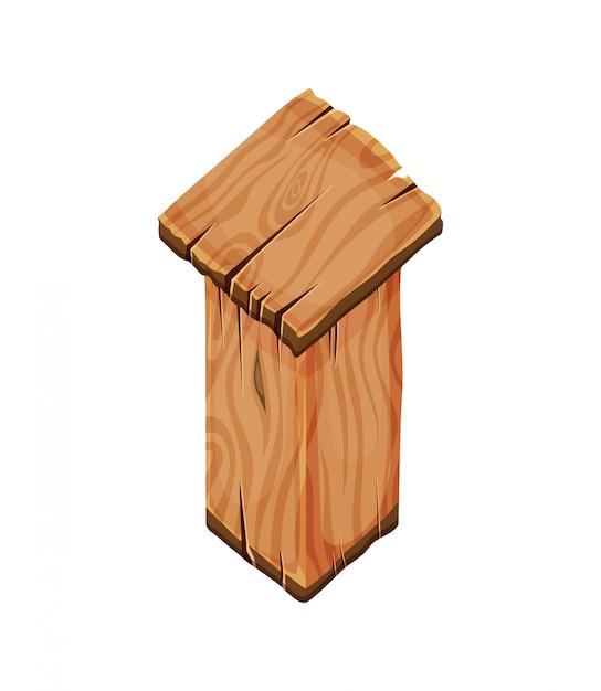 Мультяшный деревянный пустой знак западный Premium векторы