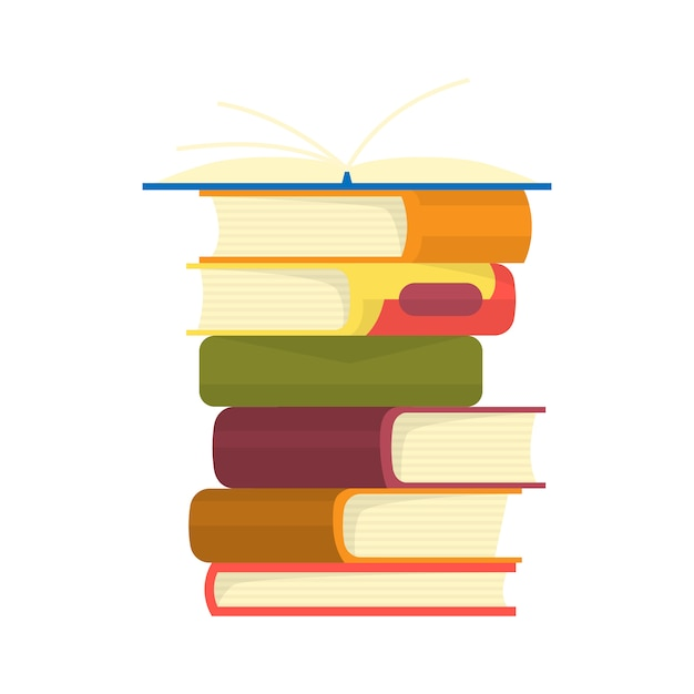 Стопка книг. куча книг векторные иллюстрации. Premium векторы