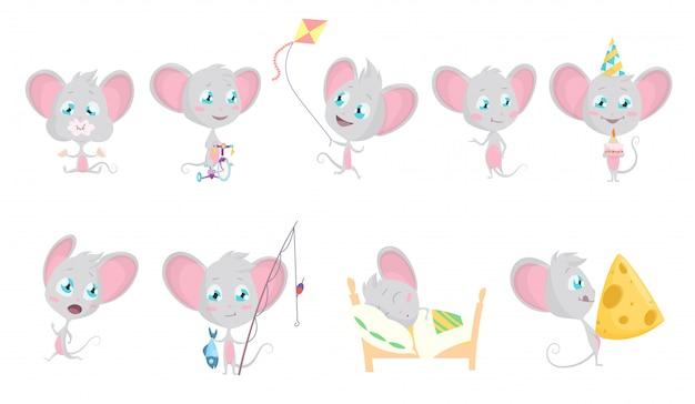 かわいいグレーのマウスセット Premiumベクター