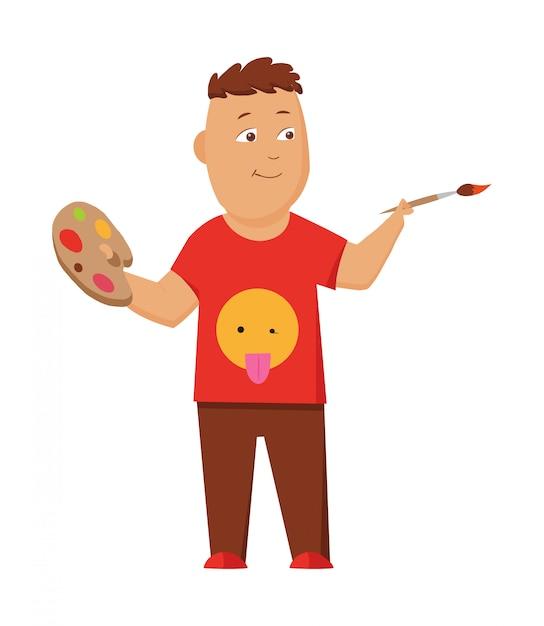 Картина мальчика с цветовой палитрой и кистью. Premium векторы