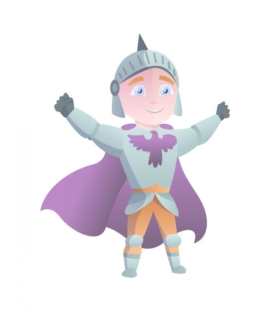 フルアーマーフラットイラストで中世の騎士。コミック風刺画。面白い漫画の騎士。 Premiumベクター