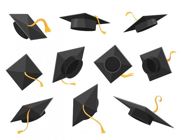 フラットスタイルの卒業の帽子または帽子のイラスト。アカデミックキャップセット Premiumベクター