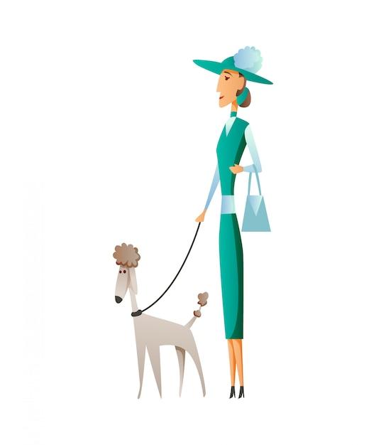 白い背景で隔離の犬を持つ女性。家畜を保持しています。女性のフラット漫画のキャラクター。 Premiumベクター