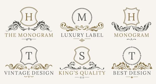 Набор логотипов ретро роял винтаж шилдс Premium векторы