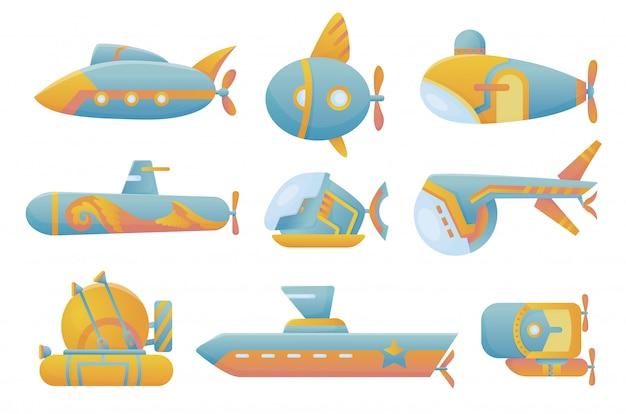 Желтая и голубая подводная лодка установлена подводный мультяшный стиль батискафа подводного корабля, исследуя погружения на дне моря плоский векторный дизайн Premium векторы