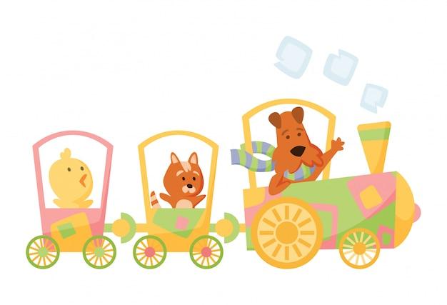 Мультфильм набор с различными животными на поездах. кошка, собака и курица. плоские элементы Premium векторы