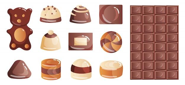Набор красочных шоколадных десертов и конфет из коробок для перекуса на обед или кофе-брейк. Premium векторы