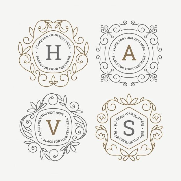Набор шаблонов логотипа вензеля Premium векторы