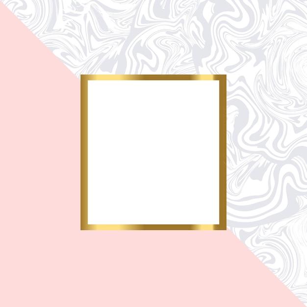 ゴールドフレームとピンクと大理石の幾何学的なカード Premiumベクター