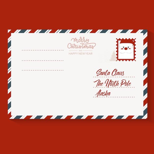 Рождественская почтовая марка письмо Premium векторы