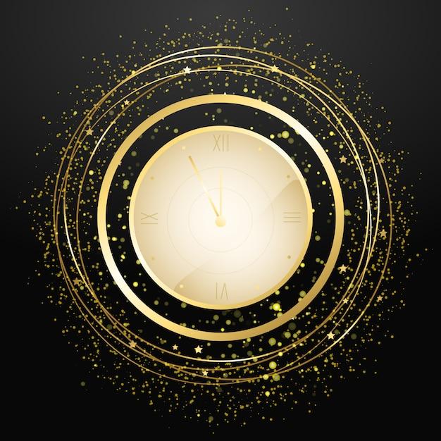 新年のカウントダウン時計。金色の紙吹雪と休日アンティーク時計 Premiumベクター