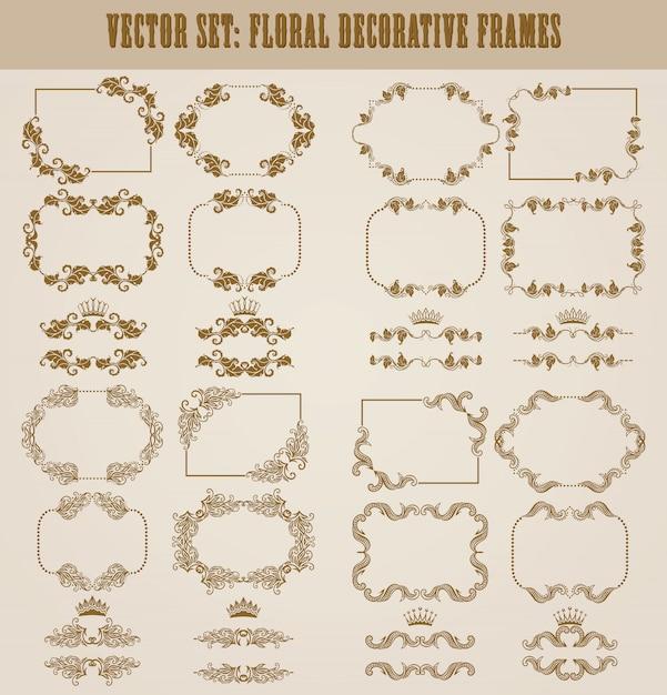 Векторный набор золотых декоративных бордюров Premium векторы