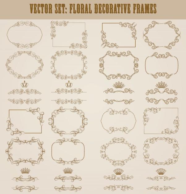 金の装飾的な罫線のベクトルを設定 Premiumベクター