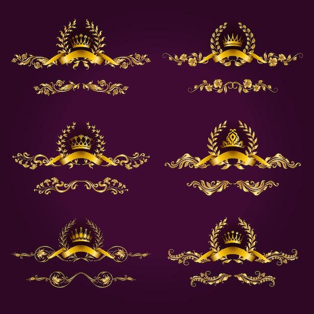 月桂冠と高級ゴールドラベル Premiumベクター
