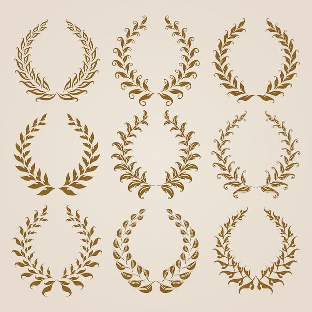 Набор векторных золотых лавровых венков. Premium векторы
