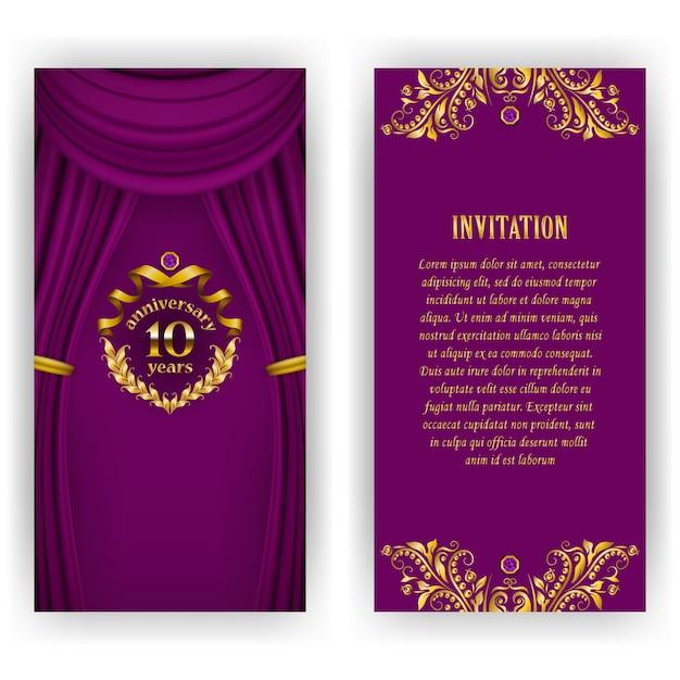 周年記念カード、月桂冠、招待状の招待状のセットです。 Premiumベクター
