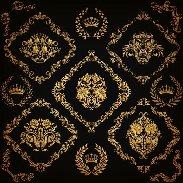 ダマスク織の飾りのセット。 Premiumベクター