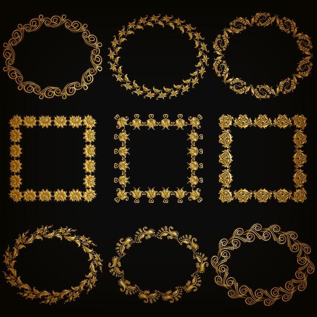Набор золотых декоративных бордюров, рамка Premium векторы
