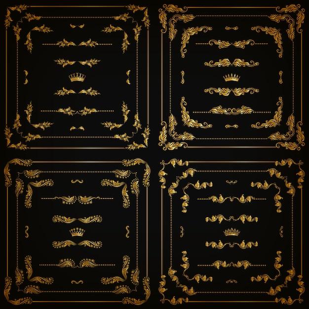 金の装飾的なボーダー、フレームのセット Premiumベクター