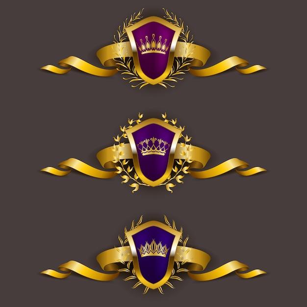 月桂冠と黄金の盾 Premiumベクター